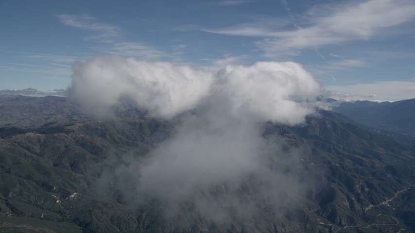 5K aerial video of a cloud over the San Bernardino Mountains in California Aerial Stock Footage | AX0009_081