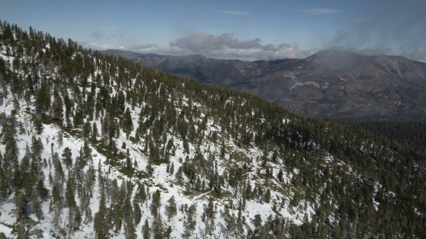 5K stock footage aerial video fly over mountain slope covered in winter snow and evergreens, San Bernardino Mountains, California Aerial Stock Footage   AX0009_122