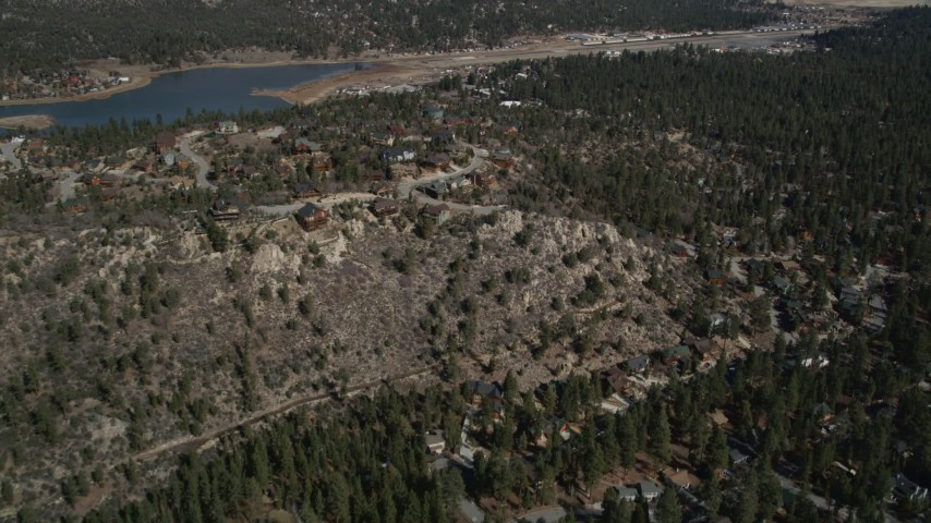 5K stock footage aerial video of hilltop homes at small town of Big Bear Lake, California Aerial Stock Footage | AX0009_141
