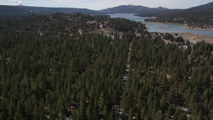 5K stock footage aerial video fly over homes hidden by trees and tilt to reveal Big Bear Lake, California Aerial Stock Footage | AX0010_004