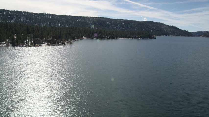 5K stock footage aerial video approach waterfront homes on the shore of Big Bear Lake, California Aerial Stock Footage | AX0010_023