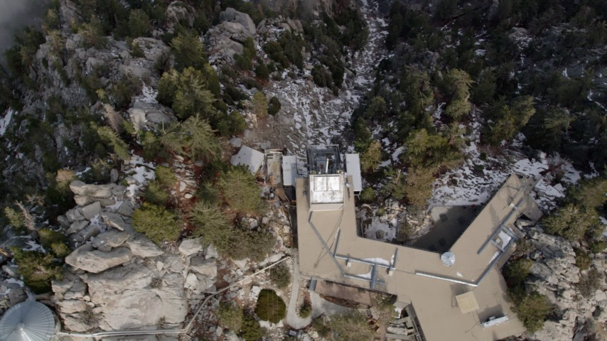 5K stock footage aerial video of circling a tram station on a mountain in winter in the San Jacinto Mountains, California Aerial Stock Footage | AX0010_113