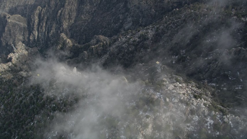 5K stock footage aerial video of bird's eye view of a gondola heading up the San Jacinto Mountains, California Aerial Stock Footage | AX0010_114