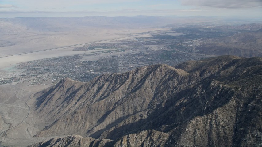 5K aerial video of North Palm Springs seen from the San Jacinto Mountains, California Aerial Stock Footage | AX0010_123