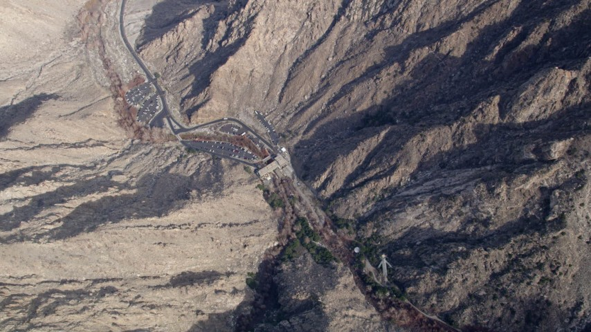 5K stock footage aerial video of bird's eye view of the ground station of the aerial tramway in the San Jacinto Mountains, California Aerial Stock Footage   AX0010_124