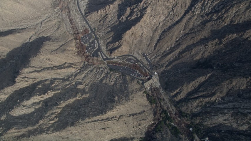 5K stock footage aerial video of bird's eye view of the ground station of the aerial tramway in the San Jacinto Mountains, California Aerial Stock Footage | AX0010_124E