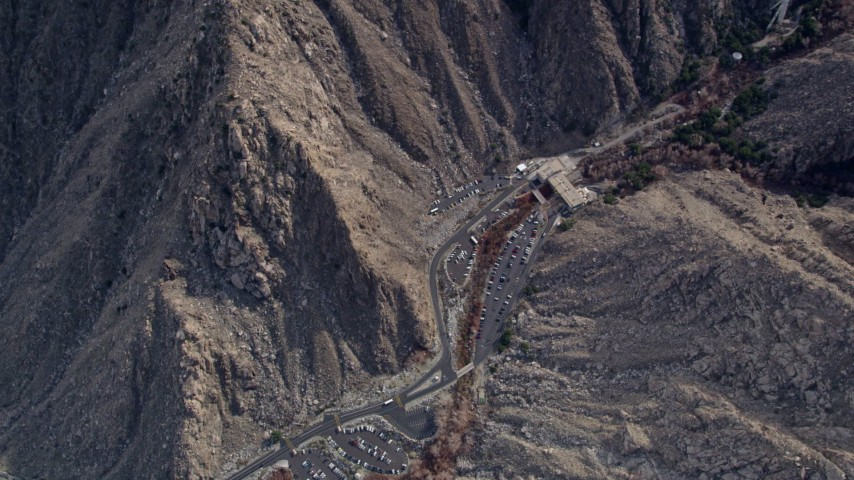 5K stock footage aerial video of bird's eye orbit of the base station for the aerial tramway in the San Jacinto Mountains, California Aerial Stock Footage | AX0010_125