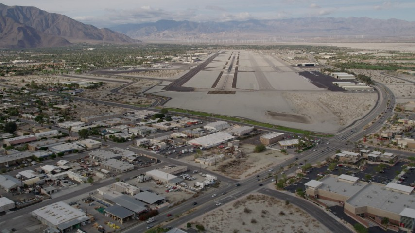 5K stock footage aerial video of approaching the runway at Palm Springs International Airport, California Aerial Stock Footage | AX0010_144
