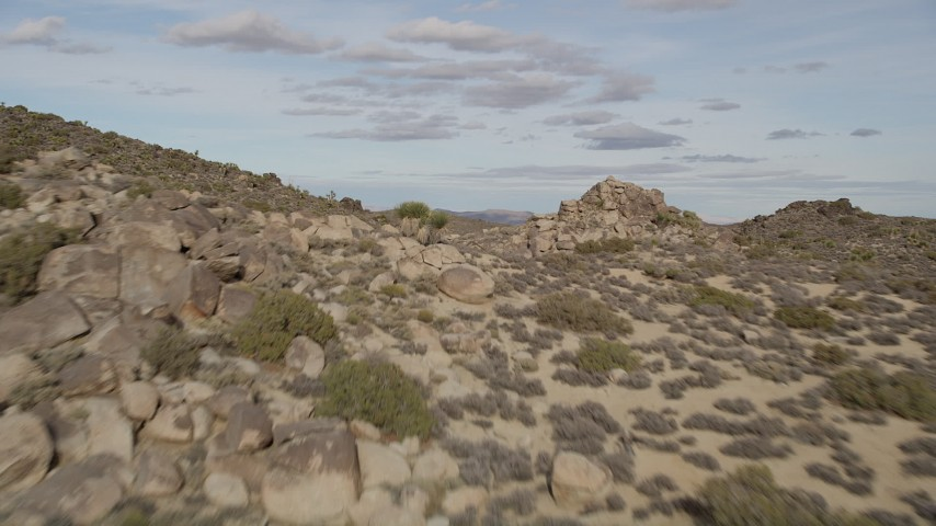 5K aerial video fly by Joshua Trees and rock formations, Joshua Tree National Park, California Aerial Stock Footage | AX0011_026