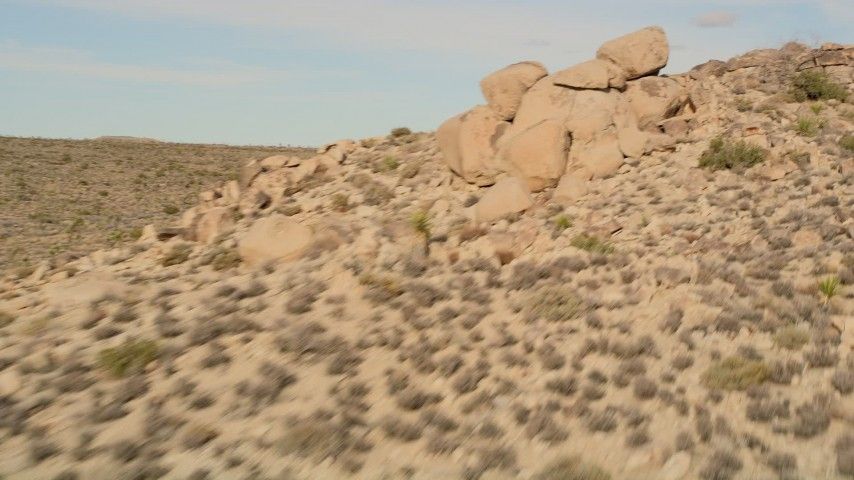 5K stock footage aerial video pan past Joshua Trees and over rock formations, Joshua Tree National Park, California Aerial Stock Footage | AX0011_035