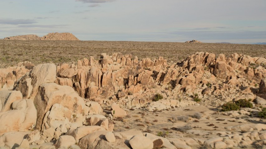 5K aerial video fly over rock formations revealing Joshua Trees, Joshua Tree National Park, California Aerial Stock Footage | AX0011_036