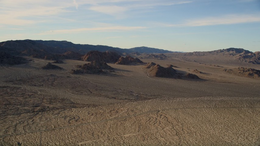 5K stock footage aerial video of mountains and open desert, Mojave Desert, California Aerial Stock Footage | AX0011_063
