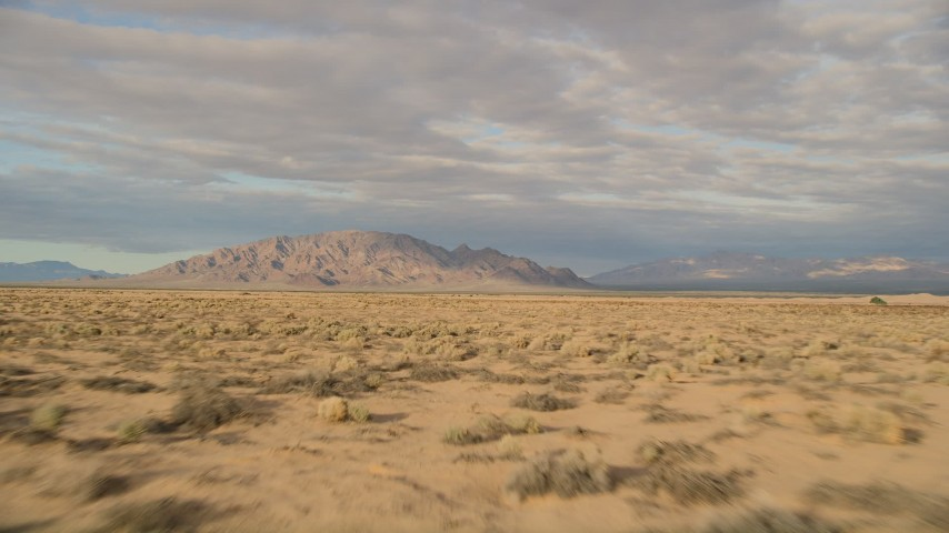 5K stock footage aerial video fly over desert vegetation toward mountains, Mojave Desert, California Aerial Stock Footage | AX0012_003