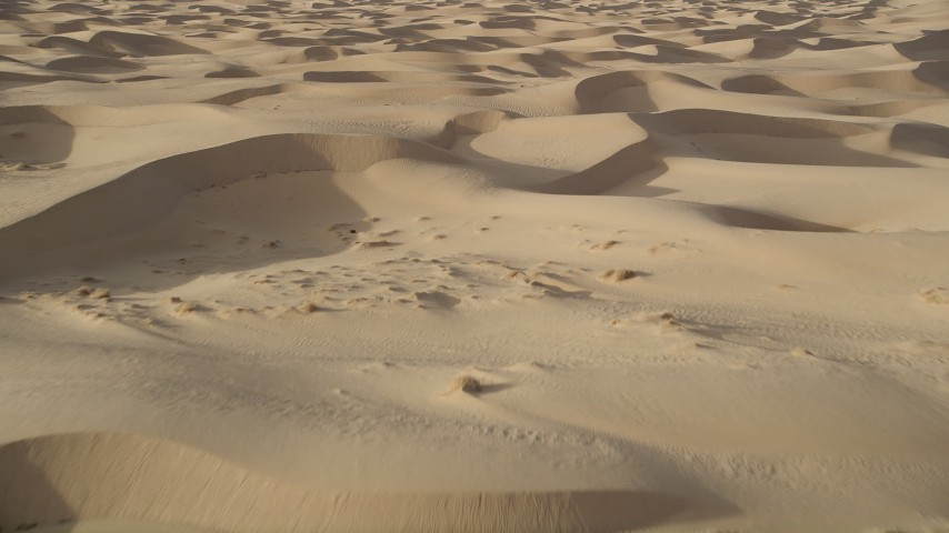 5K aerial video fly low over sand dunes, Kelso Dunes, Mojave Desert, California Aerial Stock Footage | AX0012_012