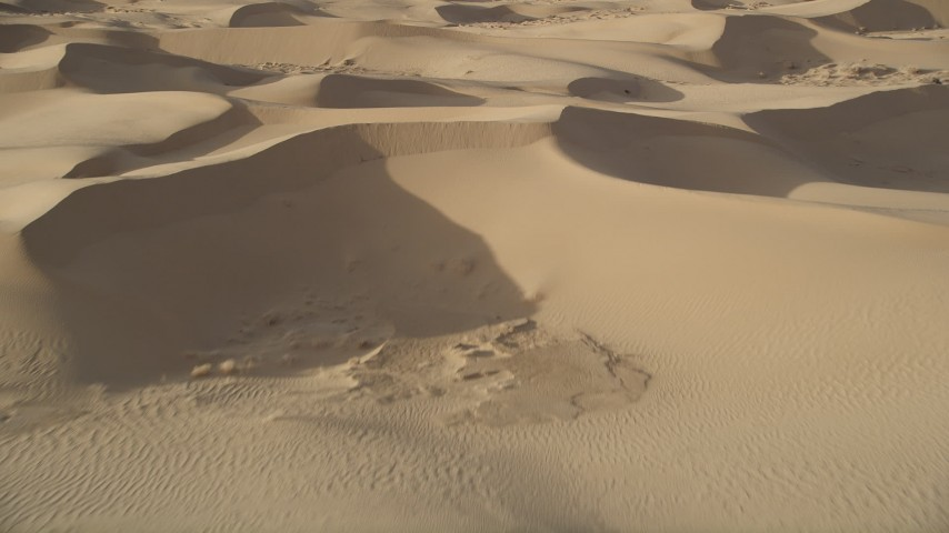 5K aerial video fly low over sand dunes, Kelso Dunes, Mojave Desert, California Aerial Stock Footage | AX0012_022