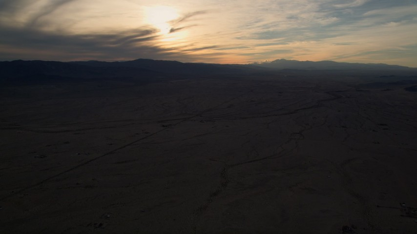 5K aerial video of the Mojave Desert at sunset in California Aerial Stock Footage | AX0012_052