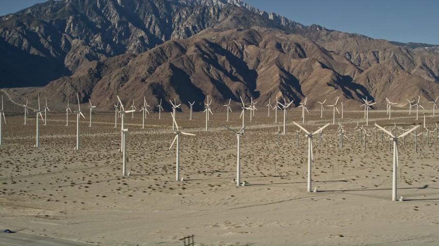 5K stock footage aerial video of wind farm in the desert, San Gorgonio Pass Wind Farm, California Aerial Stock Footage | AX0013_005