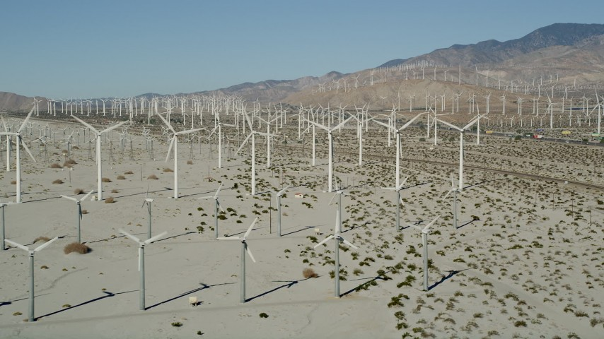 5K stock footage aerial video of wind farm in the desert, San Gorgonio Pass Wind Farm, California Aerial Stock Footage | AX0013_006