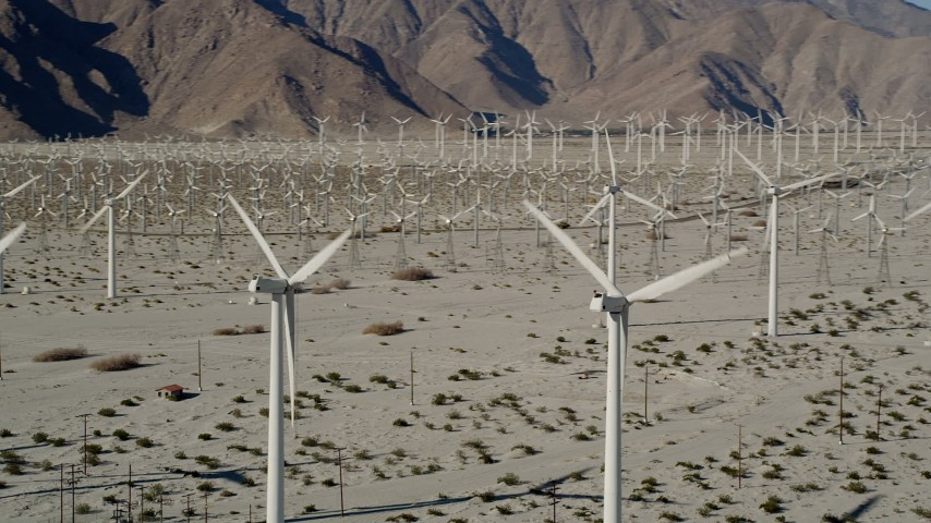 5K stock footage aerial video of desert wind farm, San Gorgonio Pass Wind Farm, California Aerial Stock Footage | AX0013_007
