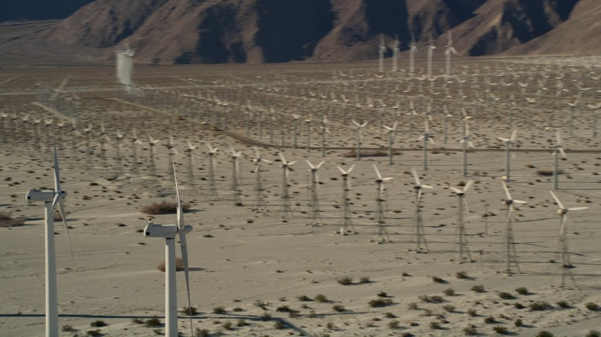 5K stock footage aerial video of desert wind farm, San Gorgonio Pass Wind Farm, California Aerial Stock Footage | AX0013_008