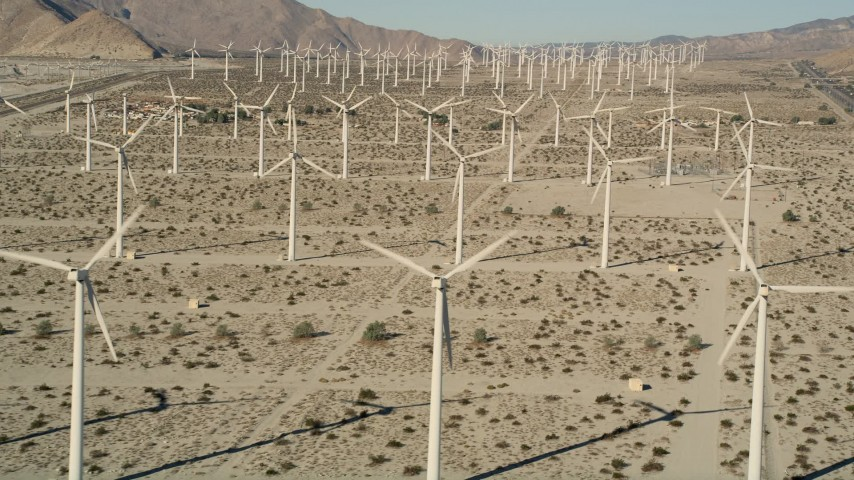 5K stock footage aerial video of desert wind farm, San Gorgonio Pass Wind Farm, California Aerial Stock Footage | AX0013_009