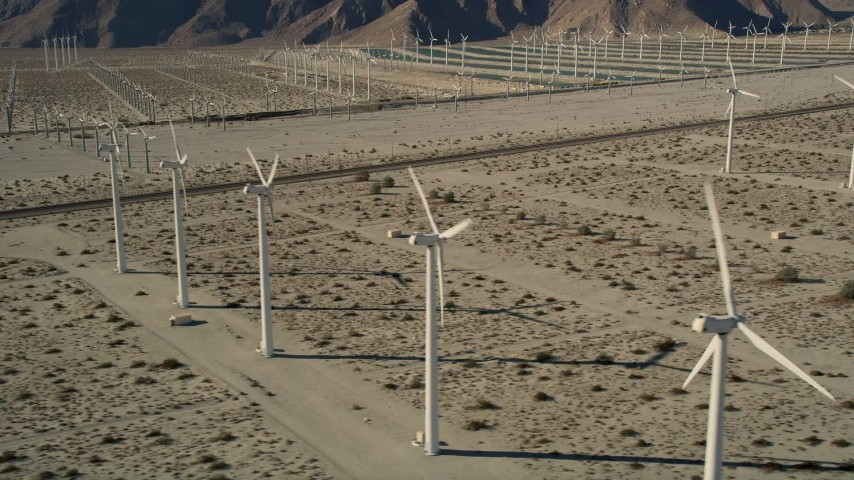 5K stock footage aerial video of desert wind farm, San Gorgonio Pass Wind Farm, California Aerial Stock Footage | AX0013_010