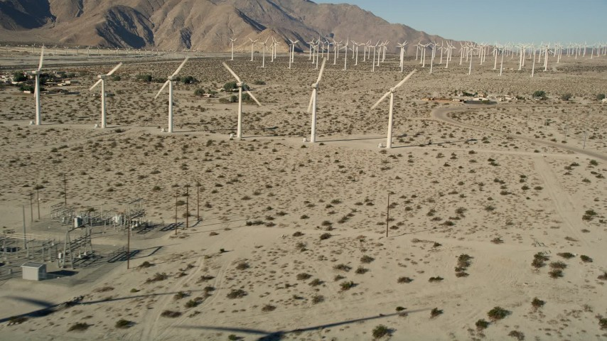 5K stock footage aerial video of desert wind farm, San Gorgonio Pass Wind Farm, California Aerial Stock Footage AX0013_012 | Axiom Images