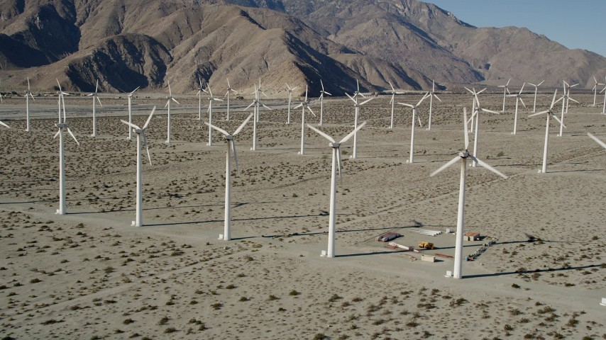 5K stock footage aerial video of approaching windmills on a wind farm, San Gorgonio Pass Wind Farm, California Aerial Stock Footage | AX0013_021