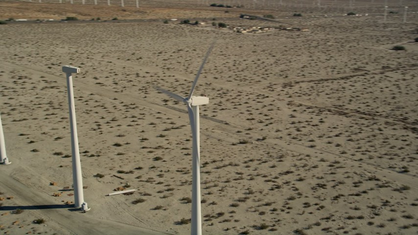 5K stock footage aerial video of orbiting a windmill, San Gorgonio Pass Wind Farm, California Aerial Stock Footage | AX0013_022