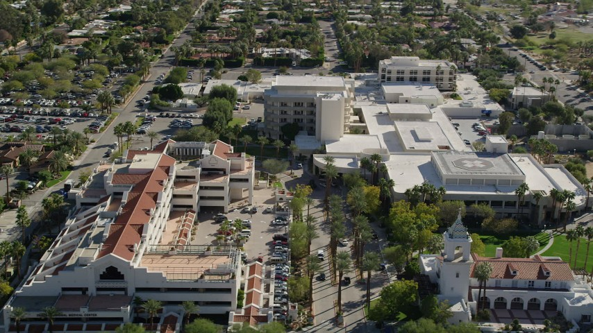 5K stock footage aerial video of a medical center, West Palm Springs, California Aerial Stock Footage | AX0013_036