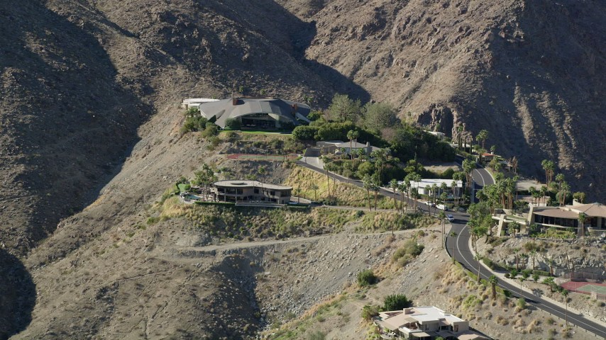 5K stock footage aerial video of a mansion in the hills, West Palm Springs, California Aerial Stock Footage | AX0013_044
