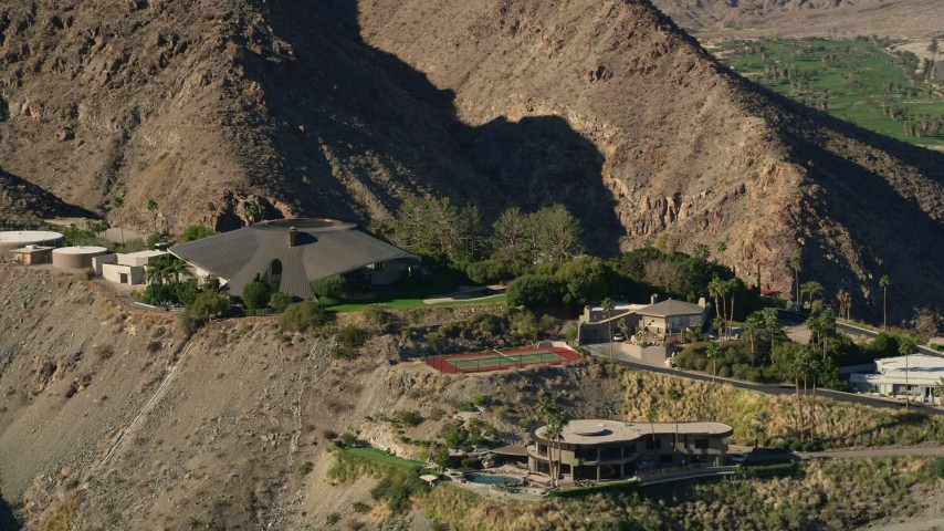 5K stock footage aerial video of a mansion in the hills, West Palm Springs, California Aerial Stock Footage | AX0013_044E