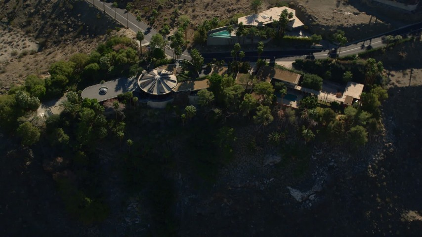 5K stock footage aerial video fly away from mansions on the hill, West Palm Springs, California Aerial Stock Footage | AX0013_048