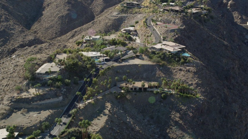 5K stock footage aerial video fly over mansions on the hill top, West Palm Springs, California Aerial Stock Footage | AX0013_049