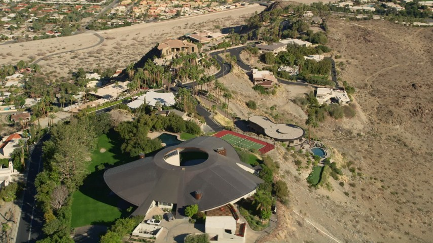 5K stock footage aerial video of orbiting a hilltop mansion, West Palm Springs, California Aerial Stock Footage | AX0013_051E