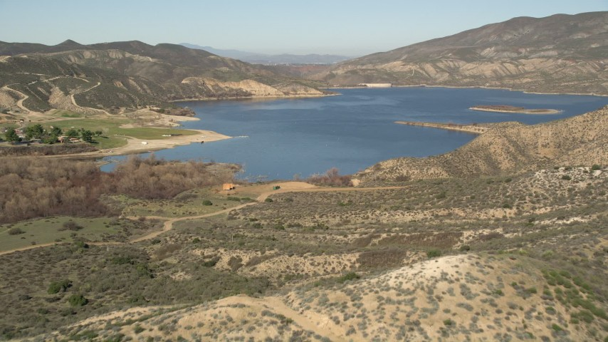 5K stock footage aerial video of approaching Lake Hemet and Hemet Dam, California Aerial Stock Footage | AX0014_026
