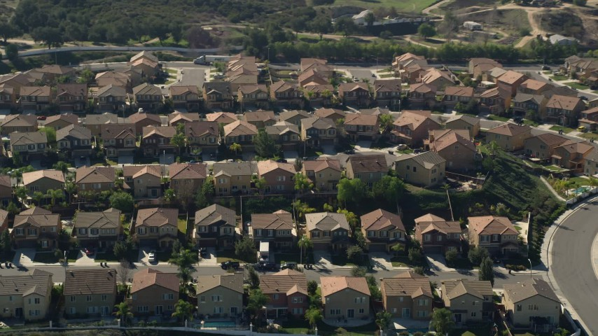 5K aerial video fly by residential neighborhood, Temecula, California Aerial Stock Footage | AX0014_038