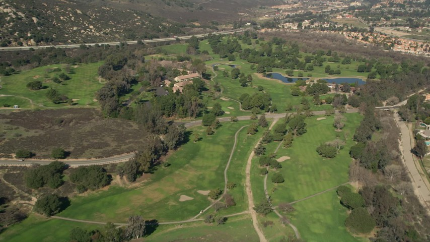 5K stock footage aerial video of flying over a golf course, Temecula, California Aerial Stock Footage | AX0014_051