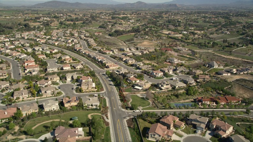 5K stock footage aerial video fly over residential neighborhoods, Temecula, California Aerial Stock Footage | AX0014_054