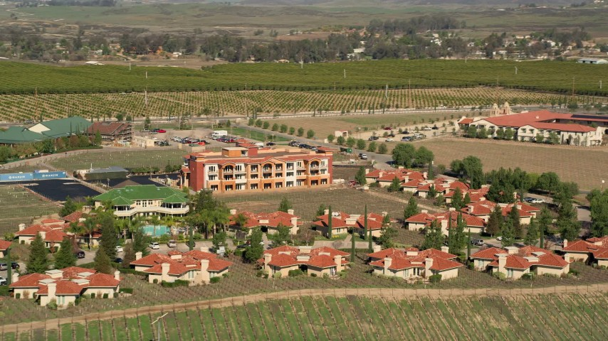 5K stock footage aerial video of South Coast Winery Resort and Spa in Temecula, California Aerial Stock Footage | AX0014_059