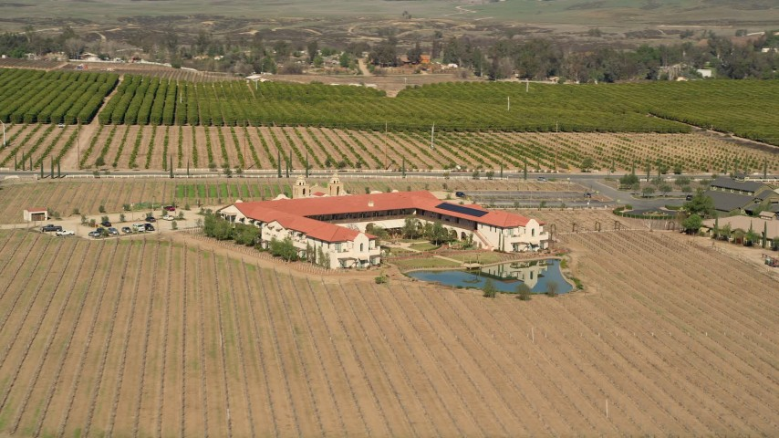 5K aerial video of orbiting Ponte Vineyard Inn, Temecula, California Aerial Stock Footage | AX0014_060