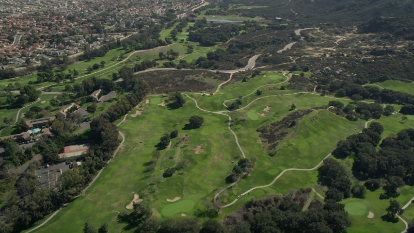 5K aerial stock footage video fly by greens at a golf course, Temecula, California Aerial Stock Footage AX0015_002 | Axiom Images