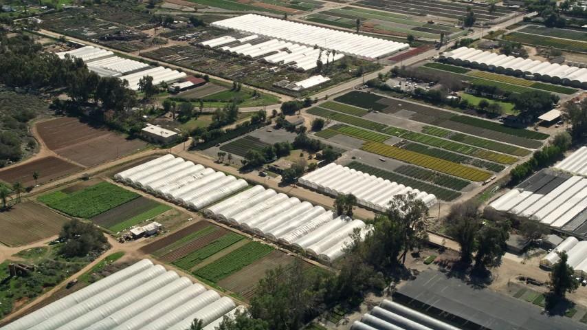 5K stock footage aerial video of orbiting farmland and greenhouse, Fallbrook, California Aerial Stock Footage | AX0015_009