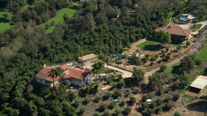 5K stock footage aerial video of hilltop houses, Fallbrook, California Aerial Stock Footage | AX0015_022