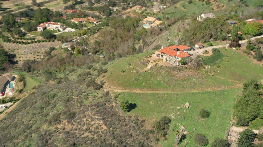 5K stock footage aerial video of orbiting a house on a hilltop, Fallbrook, California Aerial Stock Footage | AX0015_023