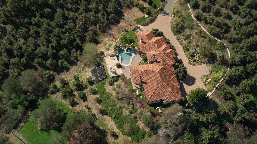5K stock footage aerial video of a bird's eye view of an upscale country home, Fallbrook, California Aerial Stock Footage | AX0015_026