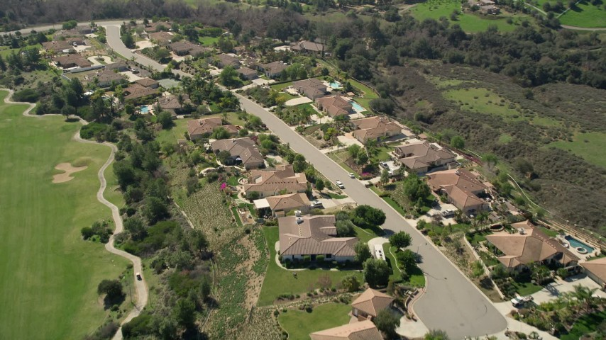 5K stock footage aerial video fly over small residential neighborhood, Fallbrook, California Aerial Stock Footage | AX0015_027
