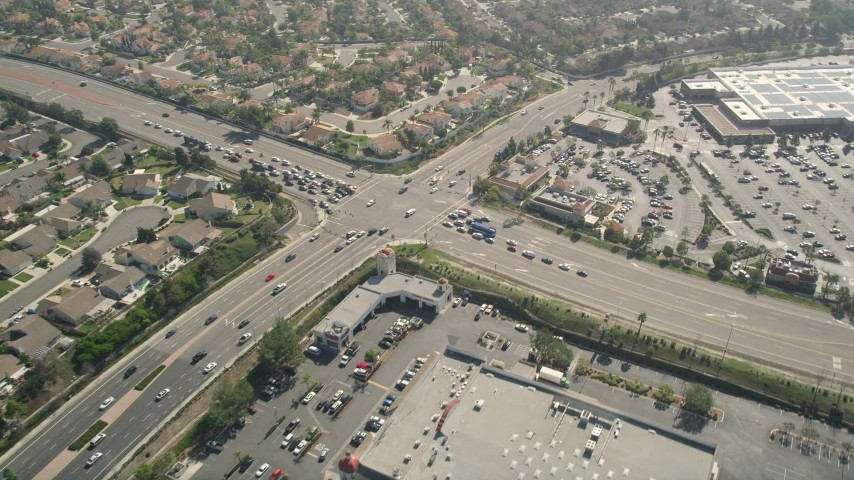 5K stock footage aerial video of orbiting a street intersection, Oceanside, California Aerial Stock Footage | AX0015_045