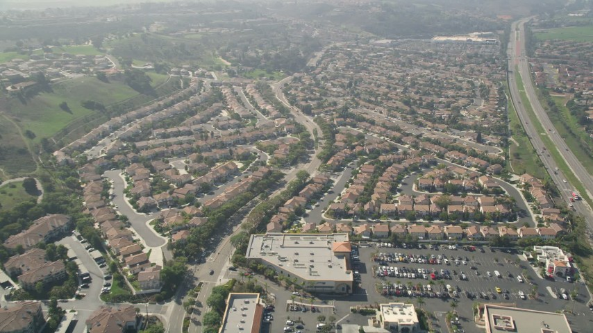 5K stock footage aerial video fly over residential neghborhood, Oceanside, California Aerial Stock Footage | AX0015_046