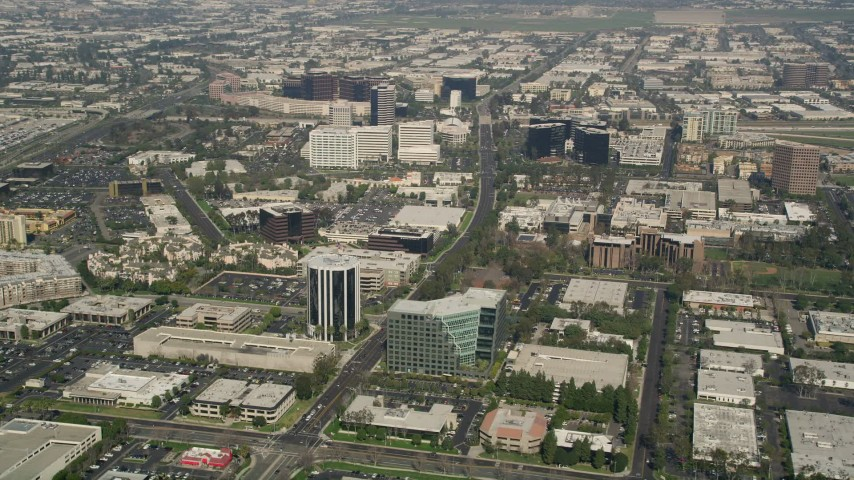 5K stock footage aerial video of office buildings on Von Karman Avenue in Irvine, California Aerial Stock Footage | AX0016_082